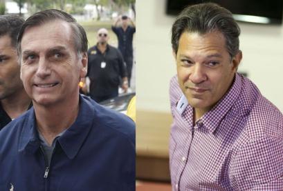 Candidatos à Presidência Jair Bolsonaro (PSL) e Fernando Haddad (PT)