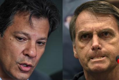 Os candidatos à Presidência Fernando Haddad (PT) e Jair Bolsonaro (PSL)
